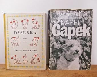 Dashenka by Karel Capek, 1960s Vintage Hardcover Books, Black and White Photographs of Puppy Dog, Vintage Czech Books.