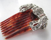 Vintage Hair Comb Silver Bow Rhinestones Faux Tortoise Shell Bride