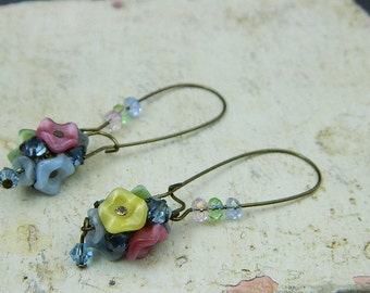 Upcycled Vintage Earrings-Floral Earrings-Floral Beaded Earrings-Flower Earrings--Victorian Bouquet