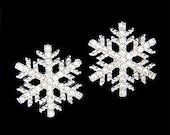 Swarovski Crystal Rhinestone Clear SNOWFLAKE Snow Flake Winter Holiday Christmas Stud Pierced Earrings Jewelry Best Friend Gift New Bling