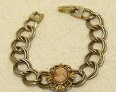 Vintage Faux Cameo Double Link Gold Tone Bracelet
