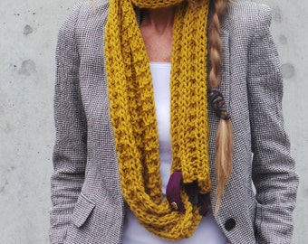 women's mustard yellow scarf cowl / yellow double wrap cowl / scarf with leather straps