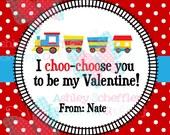 Valentine's Day Tag. I choose you. Train Train. Choo Choo.  Class Valentines. Printable Tag. PDF File.Personalized.Square Tag. Red