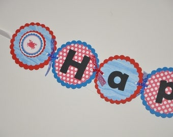 Whale. Crab. Happy Birthday Banner. Birthday Banner. Sea. Nautical. Red. Blue. Polka Dot. First Birthday