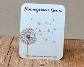 Earring Display Cards - Customized - Personalized -  Jewelry Display - Branding - Dandelion with Green Stem Flower