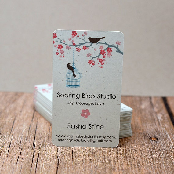 Modern Business Cards Cherry Blossom Bird Tree Mommy Calling Cards 00093a