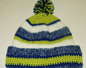 Crochet Pattern for Seattle Seahawks Sideline Beanie Hat Adult or Child Size Instructions pdf