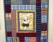 Rabbit wall hanging patchwork primitive style