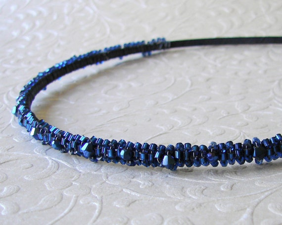 Beaded Headband with Metallic Dark Midnight Blue Swarovski® Crystal Bridal Diadem Jeweled Hairpiece Bridesmaid Hair Prom Ballroom Pageant