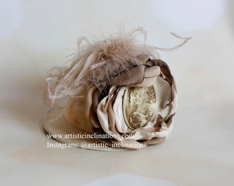 Old World Charm - Handmade Couture Ivory Beige Flower atop an Ivory Mini Top Hat, Cake Smash Photo Prop