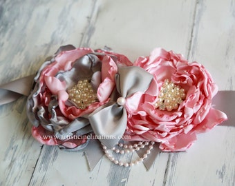 Handmade Flower Maternity Sash Pink Gray Grey for the Mommy to Be Photography Prop, Belt