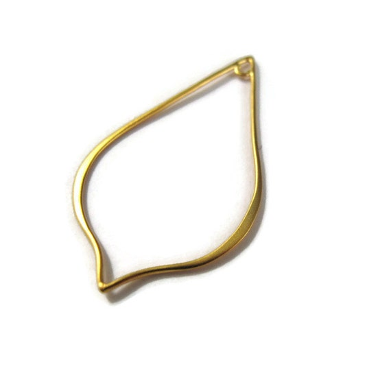 Gold Teardrop Link, Large Vermeil Teardrop Link, Pointed with Fixed Loop, Simple Design, Brushed Gold Finish (CH-2747gp)
