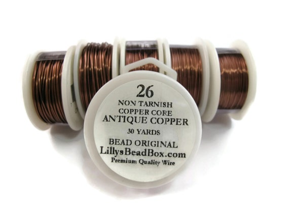 Antique Copper Wire - 26 Gauge Wire Wrapping Jewelry Supplies, Round, Non Tarnish Wire