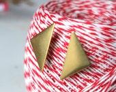 Long Sideways Brass Triangle Studs