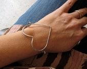 open heart bangle bracelet - floating heart statement bracelet valentines day
