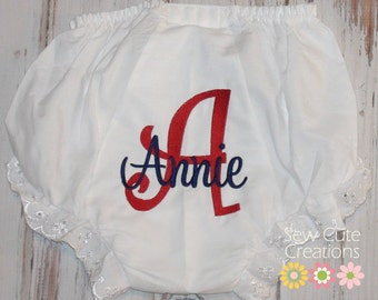 Monogrammed Diaper cover, Monogrammed Bloomers, girls monogram diaper cover, Girl monogram bloomers, baby shower gift,  sew cute creations