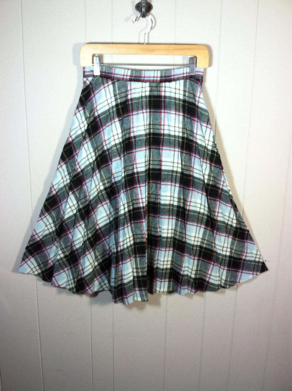 vintage wool skirt black blue plaid by stokedvintage