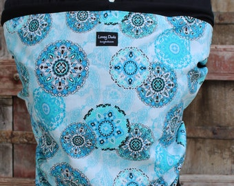 SUPER LIGHTWEIGHT-Baby Sling ORGANIC BAMBOo Baby Wrap-Sling Carrier- Blue Paisley on Black-Our Wraps Are One Size Fits All-DvD Included