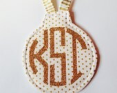 Gold Polka Dot Circle Monogram Ornament