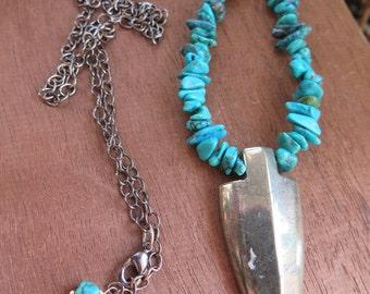 Metallic Arrowhead Necklace Turquoise - Crystal Stone Womens Jewelry - Bohemian Tribal Gypsy Jewels - Gemstone - Grey Pyrite - Inbloom