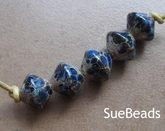 Lampwork Beads - SueBeads - Bicone Beads - Blue Lagoon Bicone Bead Set - Blue - Ivory - Handmade Lampwork Beads