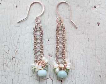 Delicate Ladder Earrings with Faceted Amazonite