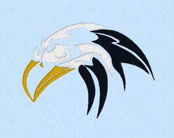 Tribal Bald Eagle head or Hawk or Crow - Machine Embroidery Design File