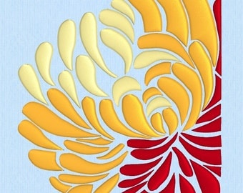 Double Chrysanthemum Machine Embroidery Design File in two sizes