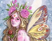 Flower Fairy Art Print - Pink Girl Butterfly Fairy Moon