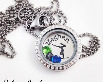 Gymnastics Locket Necklace - Sterling Silver & Stainless Steel Personalized Locket Jewelry for your Gymnast