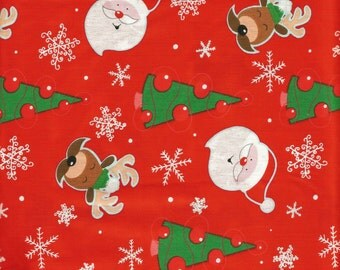 Cute Christmas Fabric 100% Cotton 1 1/2 Yard Piece (Last Chance)