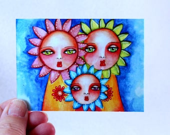 Artist Trading Card, ACEO ATC Flower Girls Art Print,, Watercolor Illustration 2.5 x 3.5, Blue Orange Pink