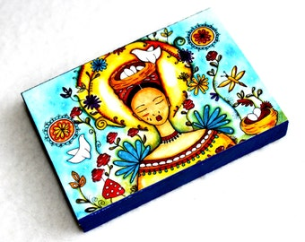 Wood Block Art Print, ACEO ATC, Mexican Girl With Birds Art Print, Artist Trading Card, Watercolor Illustration, Red Blue Yellow