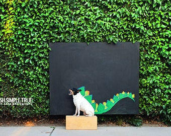 Chalk art, dinosaur dog print
