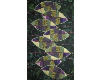 Abstract Art Quilt, Fabric Wall Hanging, Fiber Art,  Persian Shield, Leaves