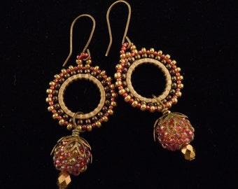 Red Seed Earrings, Garnet Hoop Earrings,  Beaded Bead Earrings, Gypsy Earrings, Hoop Earrings, Brass Dangle Earrings