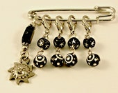 Crochet Stitch Markers, Row Counters  Black and Silver Sun and Stars