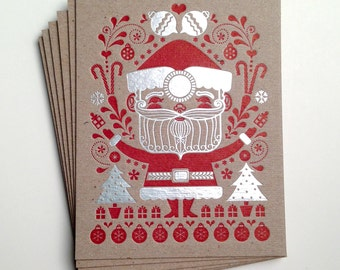 Santa Foil Holiday Card - set of 6