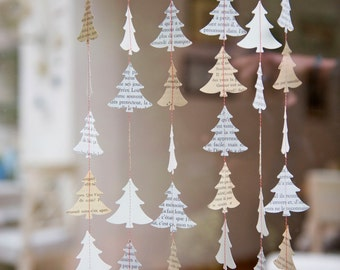 Christmas Garland, Christmas window decorations, Rustic Christmas decor, Christmas tree, Paper garland, paper mobile, holiday decor, French