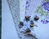 Purple color cotton fabrics violet medley with assorted oya flowers