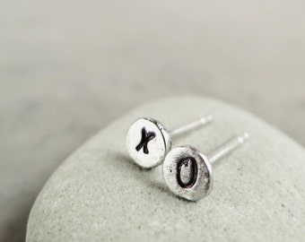 X and O earrings, Sterling Silver, studs, hand stamped, small, hugs and kisses