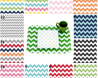 Set of 2 Double-Sided PLACEMATS wipeable, for Home or Dine Out, Made with BPA Free Laminated Cotton,