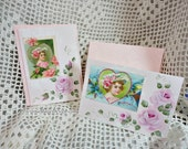 Valentine Rose Card Set, Hand Painted with Pink Cottage Roses and Graphic Vintage Accent, ECS