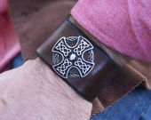 Leather Wristband--Celtic Cross Shield Leather Wristband-Leather Leather Wristband-Leather Wristband-Ready Made-SCA-LARP-Leather Cuff-