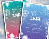 Snowflake - Winter - Frozen Theme Birthday Party Invitation (2 color options - printable)