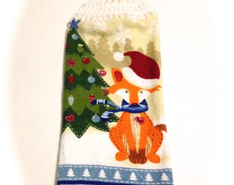 Christmas Fox Hand Towel With White Crocheted Top