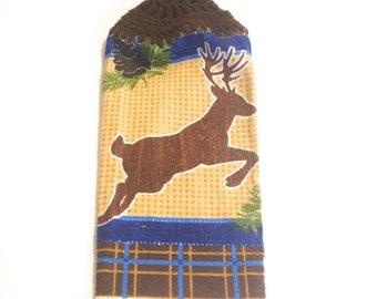 Reindeer Hand Towel With Espresso Crocheted Top