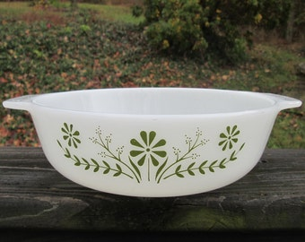 Vintage Glass Casserole Dish - Green and White Bakeware