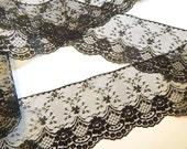 BLACK Lace Trim - 4 INCHES WiDE  5 yds. / 180 in. Lace Trim - Burlap Runners  Wedding Decor Invitations DIY Wedding