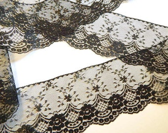 BLACK Lace Trim - 4 INCHES WiDE  5 yds. Lace Trim - Burlap Runners  Wedding Decor Invitations DIY Wedding